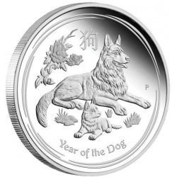 2 oz silver LUNAR DOG 2018 proof +COA