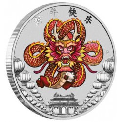 Chinese New Year Dragon 2018 1oz Silver Coin - 2de draak van de serie