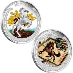 Lunar Good Fortune Series - Wealth and Wisdom 2014 1oz Silver Proof Two-Coin Set