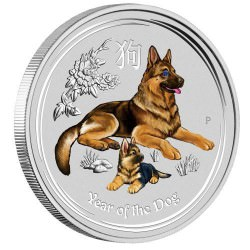 Australian Lunar Series II Year of the Dog 2018 1 Kilo Silver Gemstone Edition