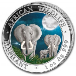 1 oz silver ELEPHANT 2014 colored