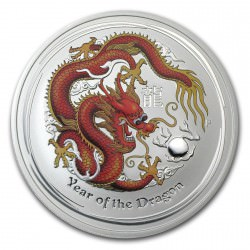 1/2 oz silver Dragon 2012 colored