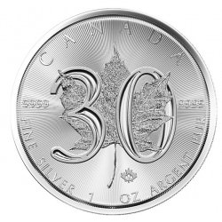 1 oz silver $5 MAPLE LEAF 30th Anniversary 2018