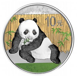 1 oz SILVER PANDA 2015 colored