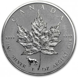 1 oz silver MAPLE LEAF 2018 privy Dog