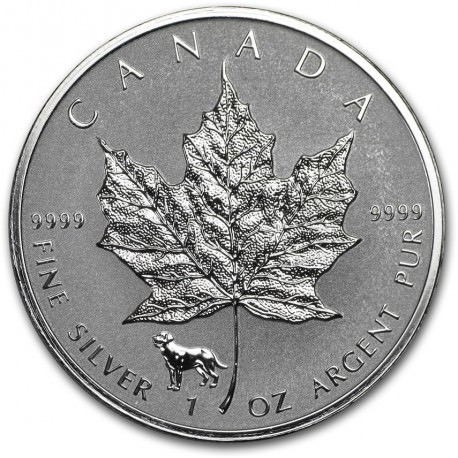 1 Oz Silver Maple Leaf 2018 Privy Dog Goldsilver Be