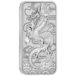 Perth Mint 1 oz silver RECTANGLE DRAGON $1 BAR 2018