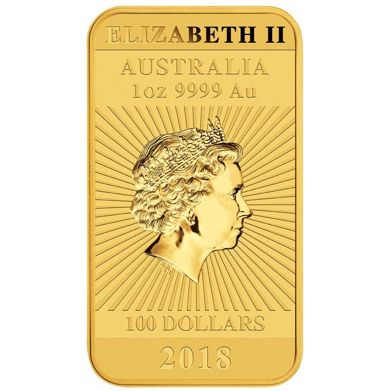 Perth Mint 1 Oz Rectangle Dragon 100 Bar 2018 Gold
