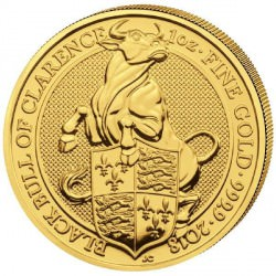1 oz gold QUEEN'S BEAST 2018 BULL OF CLARENCE £100