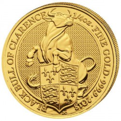 1/4 oz gold QUEEN'S BEAST 2018 BULL OF CLARENCE £25