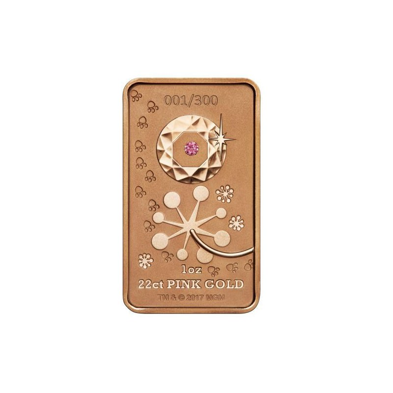 Pink Panther 2018 1oz Pink Gold Diamond Ingot Mintage 300