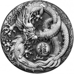 Dragon 2017 2oz Silver Antiqued Coin