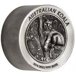Australian Koala 2018 2 Kilo Silver Antiqued High Relief Coin