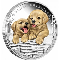 Puppies - Golden Retriever 2018 1/2oz Silver Proof Coin