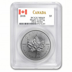 1 oz silver MAPLE LEAF 2018 bu First Strike PCGS MS-69