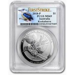1 oz silver KOOKABURRA 2018 $1 PCGS MS-69 First Strike