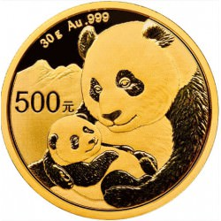 Goud CHINA PANDA 30 GR 2018 gold