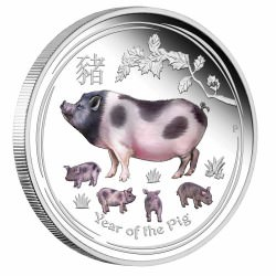 Australian Lunar Silver Coin Series II 2019 Year of the Pig 1oz Silver Proof Coloured Coin