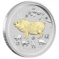 Australian Lunar Silver Coin Series II 2019 Year of the Pig 1oz Silver Gilded Edition