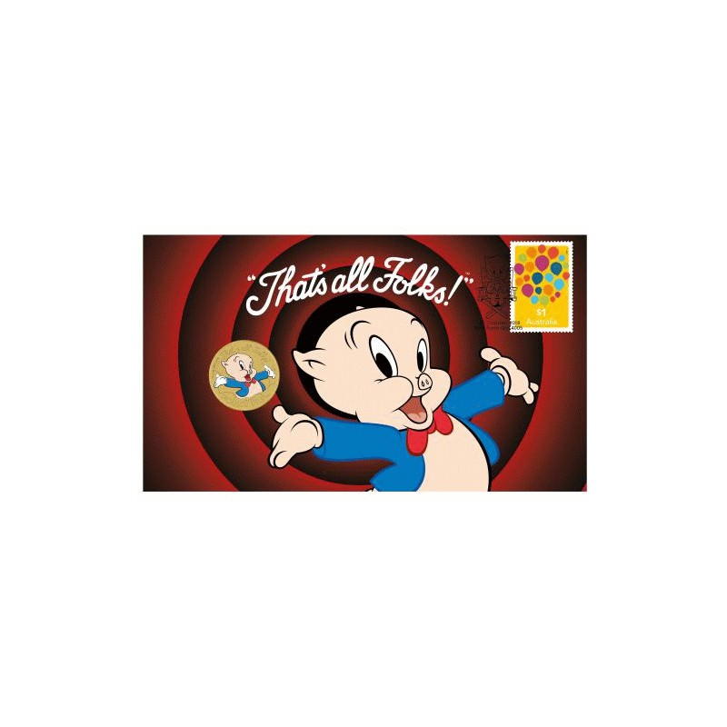 Porky Pig 2018 Stamp And Coin Cover Goldsilver Be