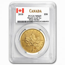 Gold Maple Leaf 1 oz 2018 PCGS MS-69