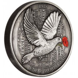 End of WWI 100th Anniversary 2018 5oz Silver Antiqued Coloured Dove Coin