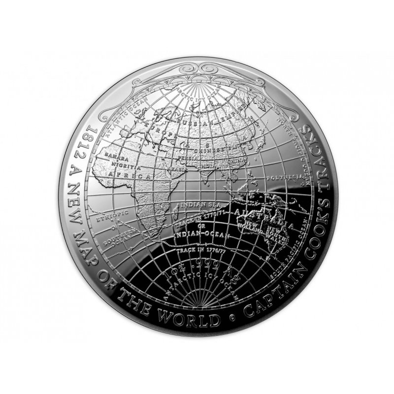 Ram 1 Oz Silver 1812 New Map Of The World 2019 Domed Coin