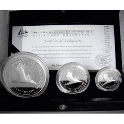 Perth Mint 1995 KOOKABURRA PROOF SET - 10 oz - 2 oz -1 oz Box + Coa