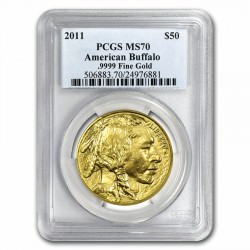 1 oz GOLD AMERICAN BUFFALO 2011 PCGS MS-70 FS