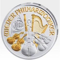 1 oz silver WIENER PHILHARMONIKER 2017 part. gilded