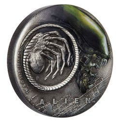 Alien 40th Anniversary 2019 2oz Silver Antiqued Coloured Coin