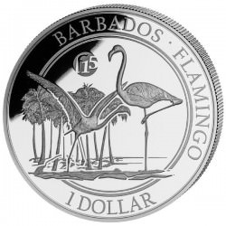 1 oz silver FLAMINGO 2016 $1 Barbados PROOF F15