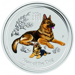 1 oz silver DOG 2018 Colored