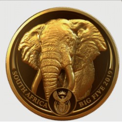 South Africa 1 oz gold BIG FIVE 2019 ELEPHANT PROOF Box + Coa 50 Rand