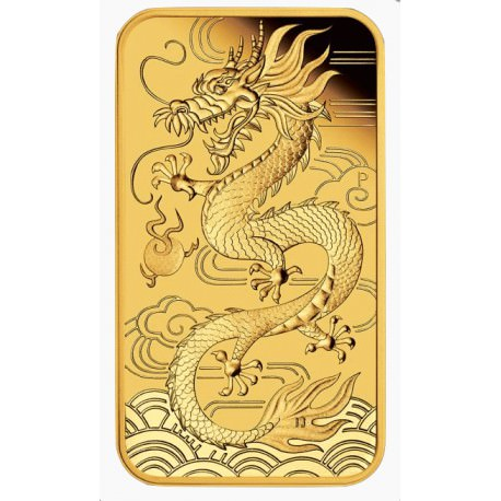 Perth Mint 1 oz RECTANGLE DRAGON $100 BAR 2018 GOLD