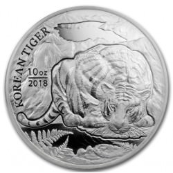 10 oz silver KOREAN TIGER 2018 BU