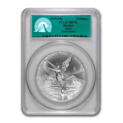 5 oz SILVER LIBERTAD 2019 PCGS MS70 First Strike