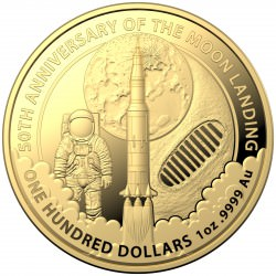 1 oz gold RAM 50th Anniversary of the Moon Landing 2019 $100