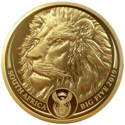South Africa 1 oz gold BIG FIVE 2019 LION PROOF Box + Coa 50 Rand