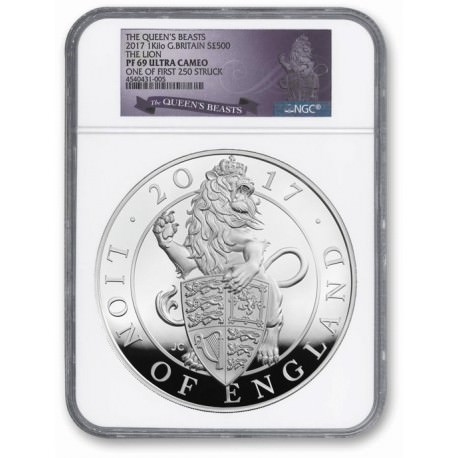 UK 1 kilo silver Queen's Beast LION 2016 PROOF NGC69